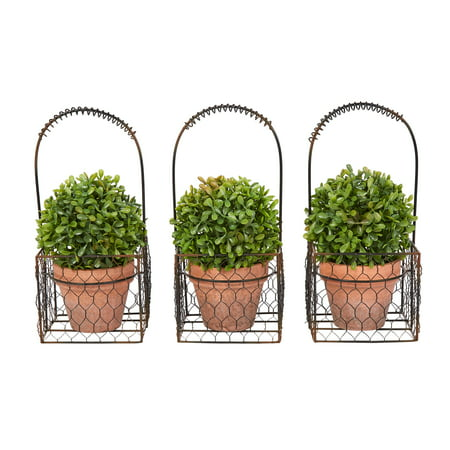 Pure Garden Faux Boxwood– 3 Matching Realistic Topiary Arrangements in Decorative Metal Baskets (Set of 3) 9.5
