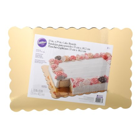Wilton 13 x 9-Inch Scalloped Cake Boards, Gold, 3-Count