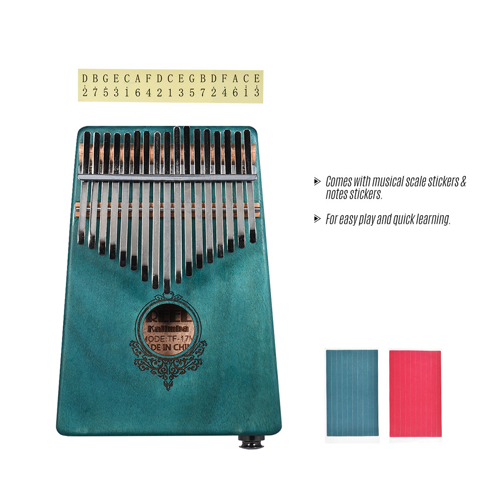 17-key Kalimba Portable Thumb Piano Mbira Mahogany Wood Built-in Pickup With 6.35mm Speaker Interface with Carry Bag Musical Gift