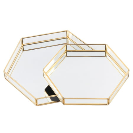 Koyal Wholesale Gold Glass Mirror Hexagonal Trays Vanity Set of 2, Decorative Mirrored Hexagon Trays for Coffee Table ()