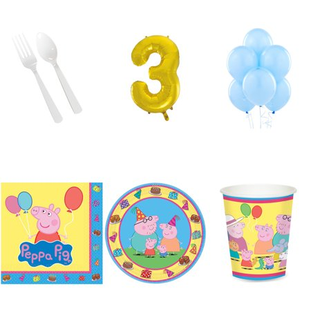 PEPPA PIG PARTY SUPPLIES PARTY PACK FOR 16 WITH #3 BALLOON AMZ ONLY - Peppa Pig Birthday Supplies