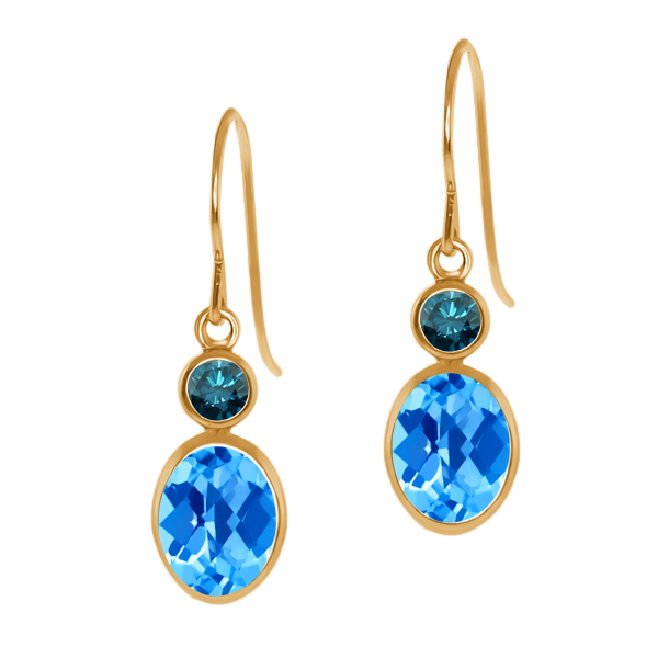 2.14 Ct Oval Checkerboard Swiss Blue Topaz Blue Diamond 14K Yellow Gold Earrings
