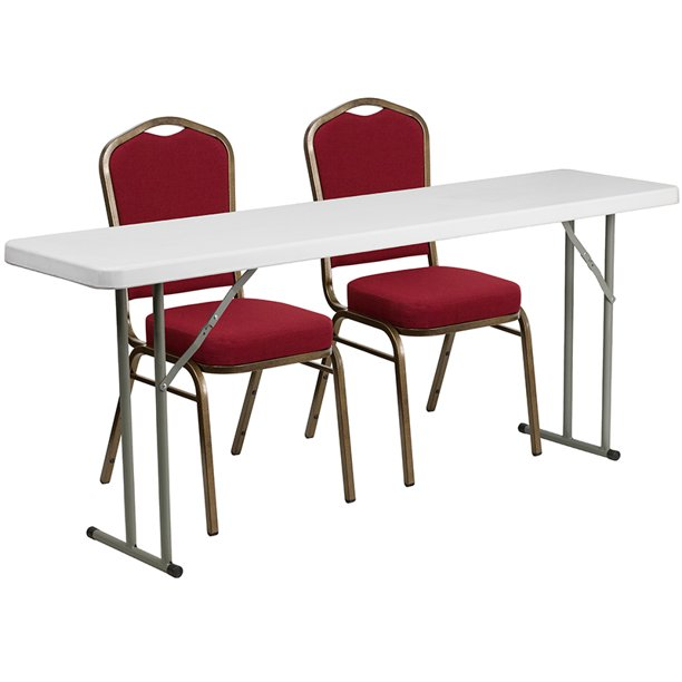 6 Foot Plastic Folding Training Table Set With 2 Crown Back Stack Chairs Walmart Com Walmart Com
