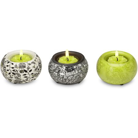 Pavilion- Green Mini Tealight Candle Holders Crackled Glass and Floral Set of 3