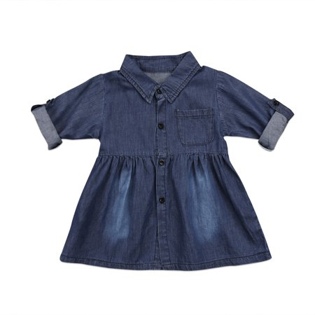 Toddler Kids Baby Girls Denim Jeans One Picece Princess Dress Long Sleeve Skirt - image 5 of 5