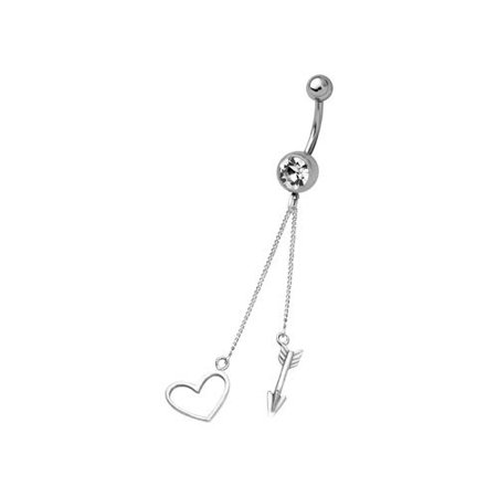 Sterling Silver Cupid S Arrow Belly Button Navel Ring