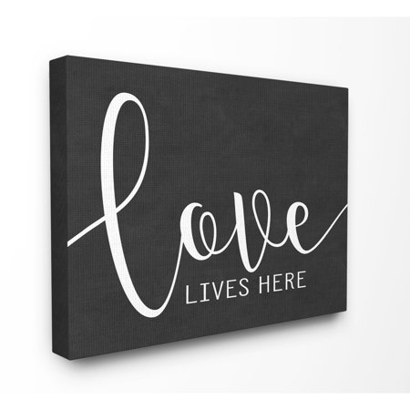 The Stupell Home Decor Collection Love Lives Here Oversized Stretched Canvas Wall Art, 24 x 1.5 x 30 24 X 30 Giclee Canvas
