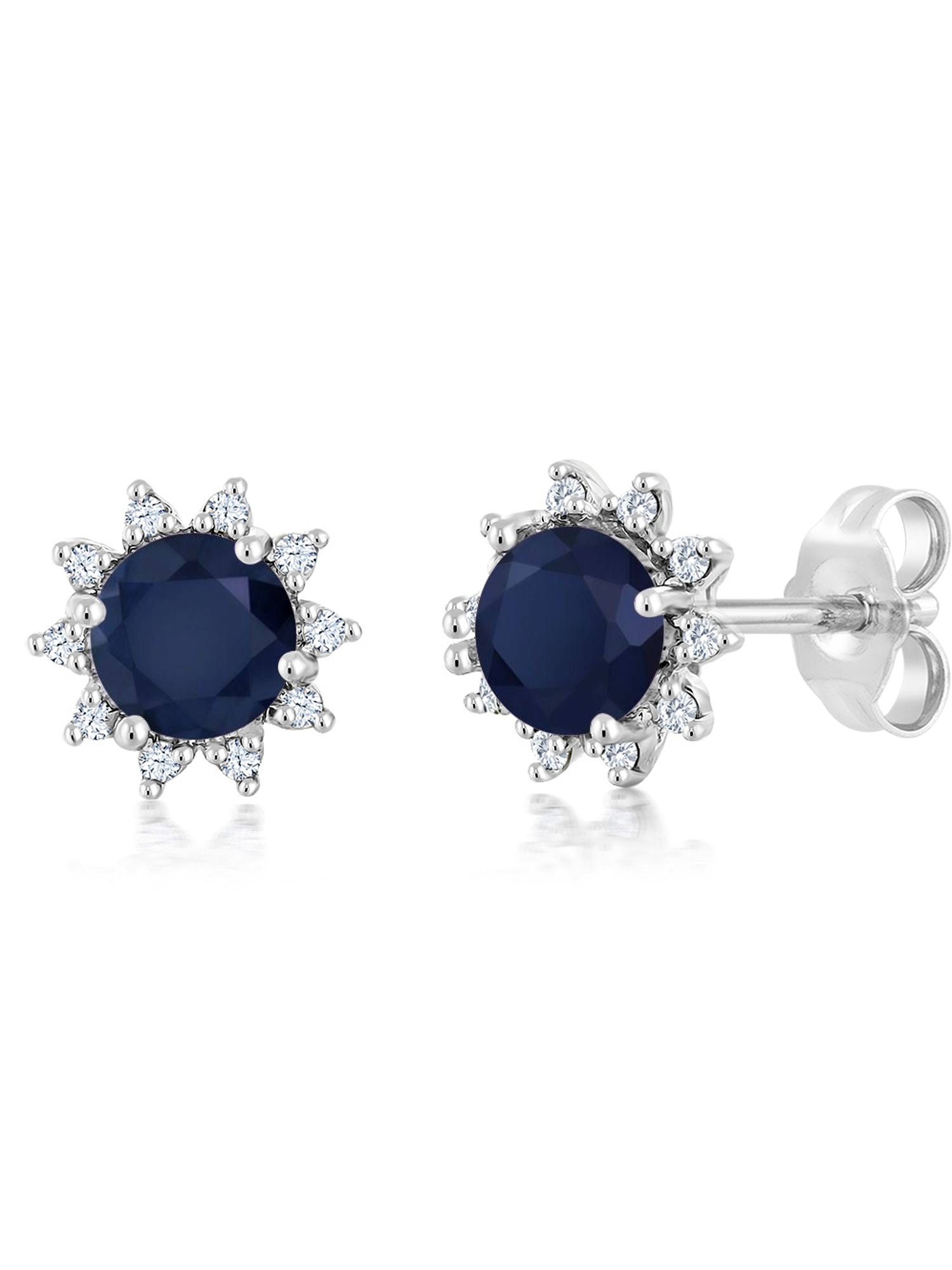 18K White Gold Diamond Stud Earrings Round 4mm Blue Sapphire 0.72 Ct