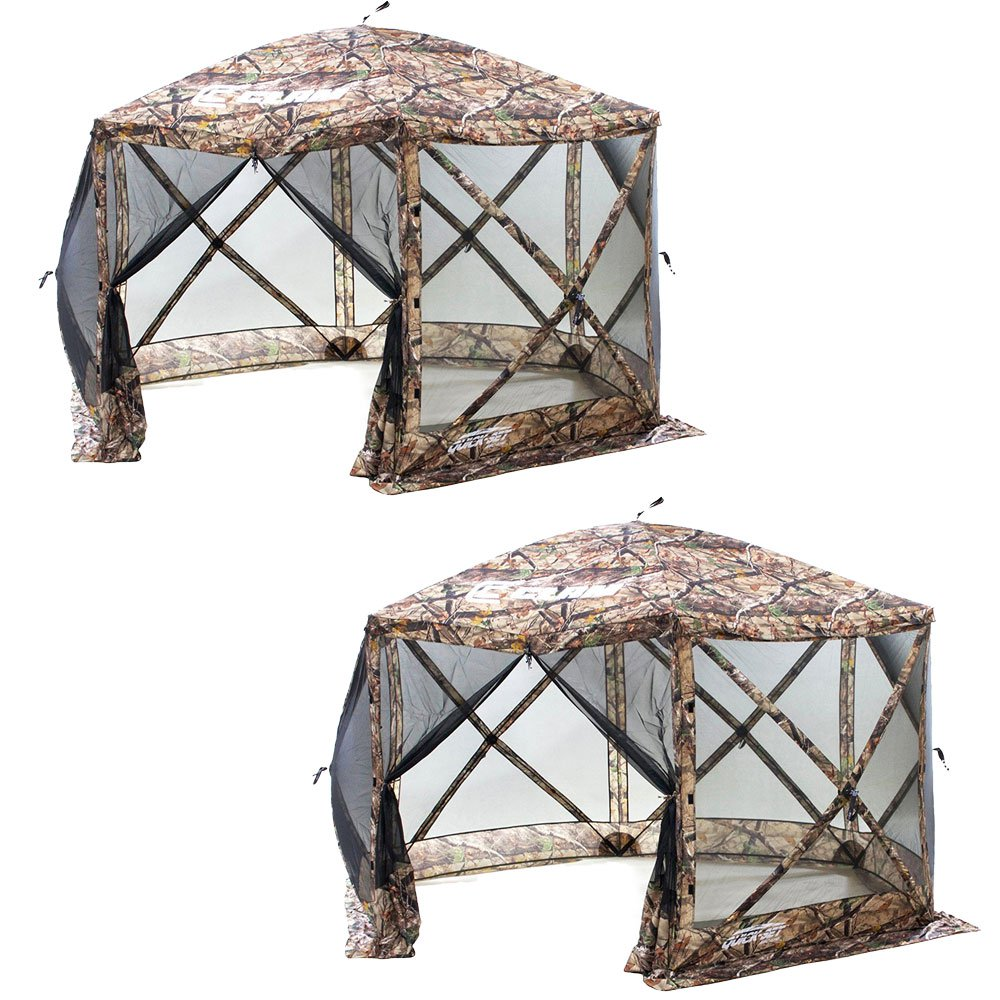 Clam Quick Set Camping Outdoor Gazebo Canopy Shelter Screen, Camouflage (2 Pack)