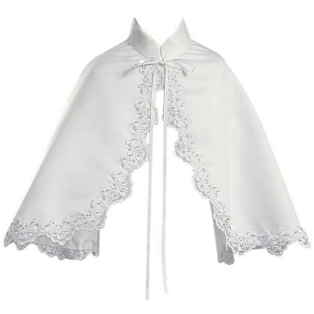 Little Girls Satin Cape Lace Trim Bolero Jacket Cover Shrug Sweater Christmas White S  (L10T63)