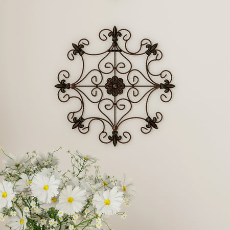 Medallion Metal Wall Art- 14.25 Inch Square Open Edge Metal Home Decor, Hand Crafted with Distressed Finish- Mounting Screws Included by Lavish Home ()