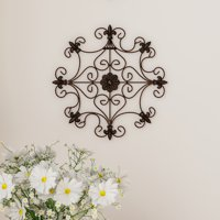 Medallion Metal Wall Art- 14.25 Inch Square Open Edge Metal Home Decor, Hand Crafted with Distressed Finish- Mounting Screws Included by Lavish Home