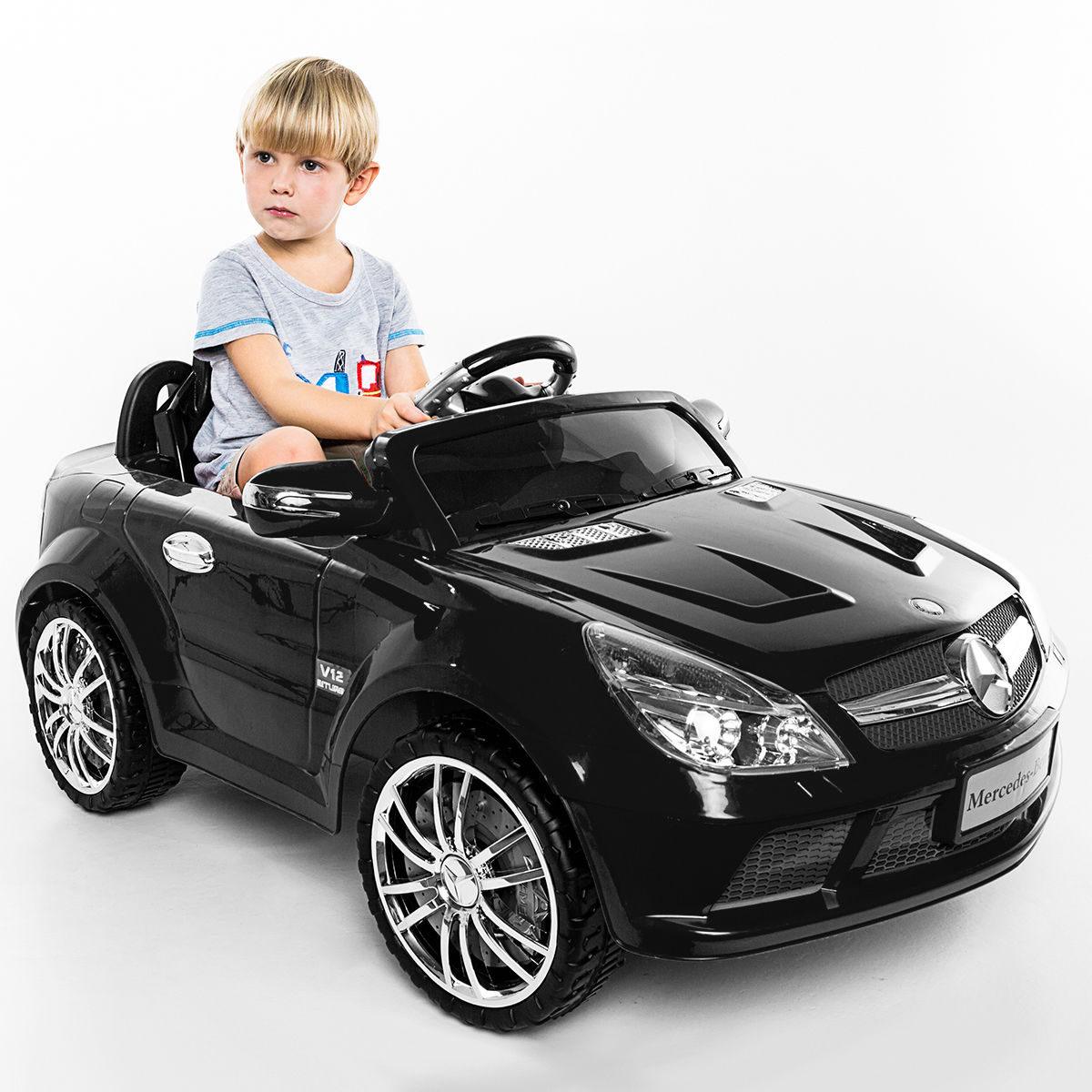 Costway 12V Mercedes-Benz SL65 Electric Kids Ride On Car Music RC Remote Control Black by Costway
