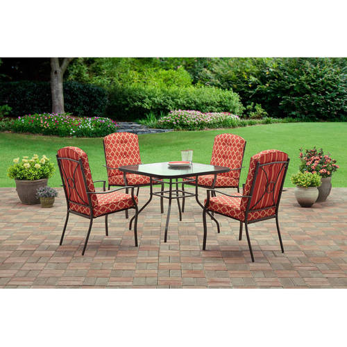 Mainstays Ashwood Heights 5-Piece Outdoor Dining Set, Red