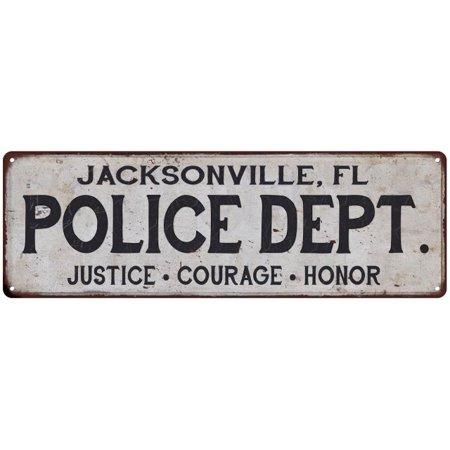 JACKSONVILLE, FL POLICE DEPT. Home Decor Metal Sign Gift 6x18 206180012008 ()