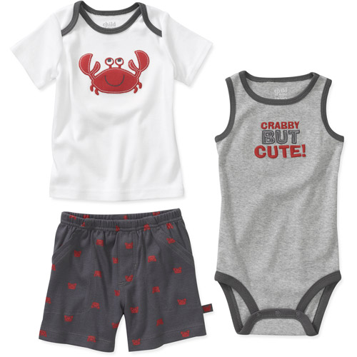 Child of Mine by Carters Newborn Boys' 3 Piece Crab Shirt, Bodysuit and Pant Set