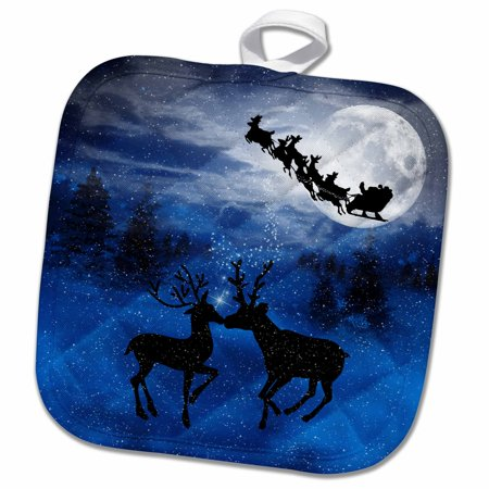 3dRose Romantic Christmas Reindeer Kissing in the Snow with a Winter Moon shining on the Forest - Pot Holder, 8 by 8-inch - The Potholder