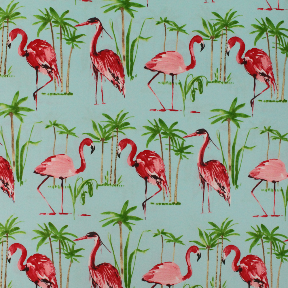 "Berkshire Home Flamingo Aqua 54"" Indoor or Outdoor 100% Polyester Fabric, per Yard"