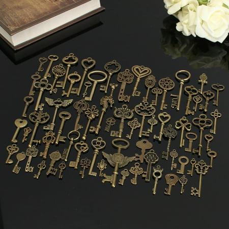 69Pcs Vintage Large Skeleton Keys Antique Look Old VTG Bronze Crown Bow Pendants