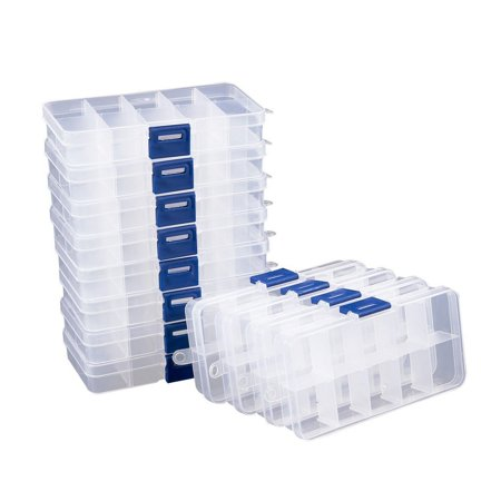 Clear Jewelry Box - 12-Pack Plastic Bead Storage Container, Earrings Storage Organizer with Adjustable Dividers, 10 Compartments Each, 5 x 0.8 x 2.6 Inches