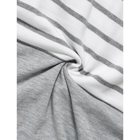 Allegra K Rayures col V Dame Couleur Contraste T-Shirt - image 3 de 7