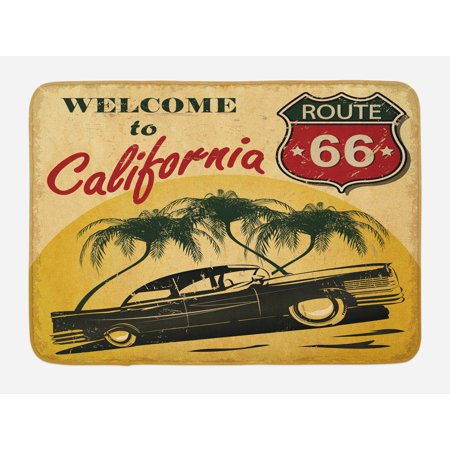Retro Bath Mat, Retro Welcome to California Advertising Seat of Hollywood in Pop Art Style Print, Non-Slip Plush Mat Bathroom Kitchen Laundry Room Decor, 29.5 X 17.5 Inches, Red Emerald,
