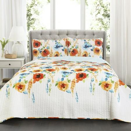Percy Bloom Quilt Tangerine/Blue 3Pc Set King (Bloom Cotton Quilt)