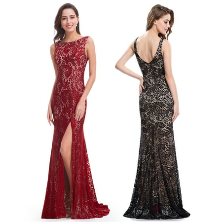 Ever-Pretty Womens Sexy Open Back Lace Floor-Length Fish Tail Evening Prom Ball Gown with High Slit Formal Dresses for Women 08859 Black US 4 (Adaptive Open Back Dress)
