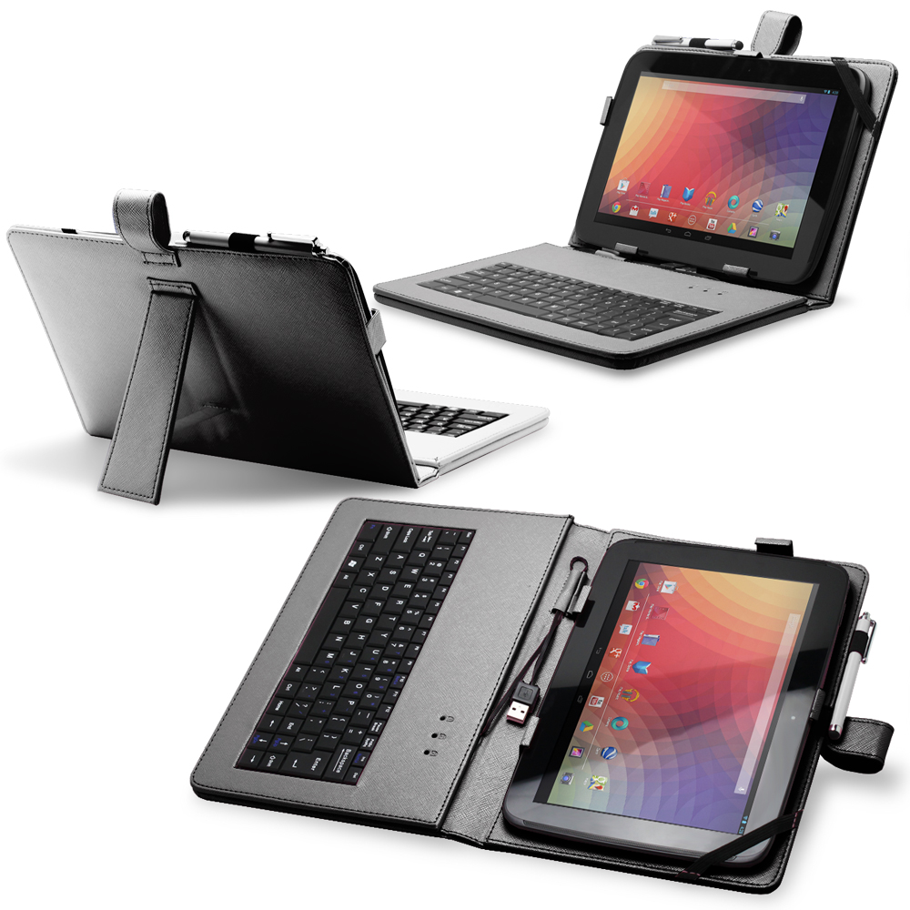 "Fosmon Leather Case with Stand, USB Keyboard & Stylus for 10"" Tablets Google Nexus 10, Acer Iconia Tab A200 & More Black"