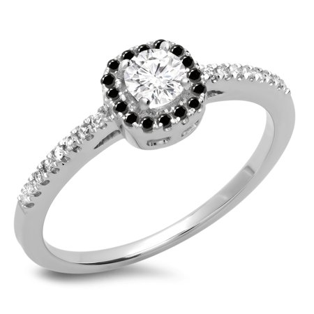 Dazzlingrock Collection 0.45 Carat (ctw) 14K Round Black & White Diamond Halo Engagement Ring 1/2 CT, White Gold, Size 9