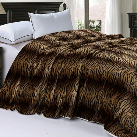 BOON Throw & Blanket Safari Animal Nature Faux Fur and Sherpa Queen ...