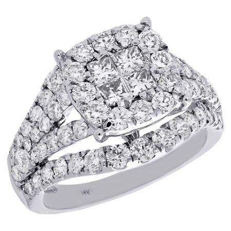 14K White Gold Princess Diamond Split Shank Contour Engagement Ring 2.50 Ct.