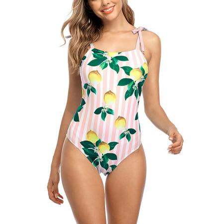 Charmo Womens Lemon Printed Petite One Piece Swimsuits Monokini Bathing Suits