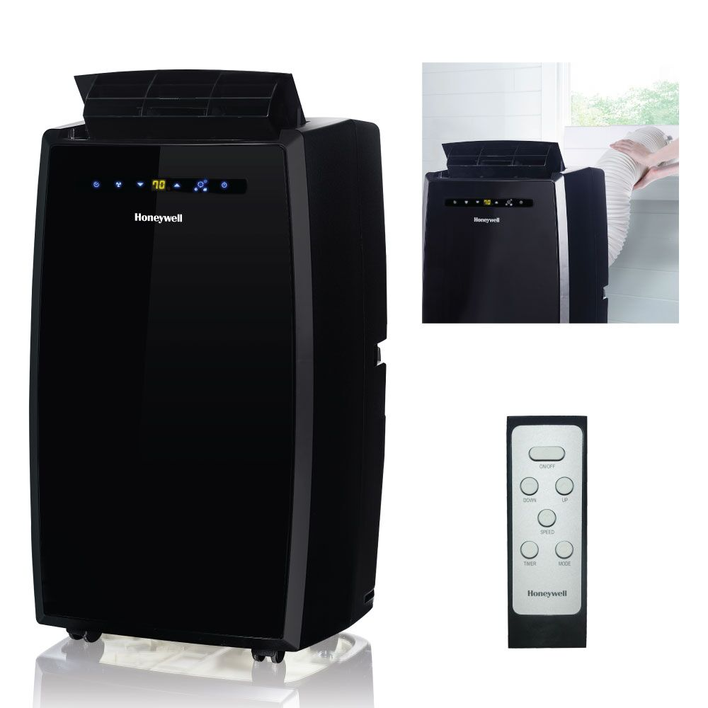 Honeywell MN12CESBB 12,000 BTU 115V Portable Air Conditioner for Rooms Up To 550 Sq. Ft. with Dehumidifier & Fan, Black