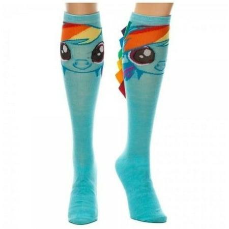 d5f68a2a0b4 Bioworld - My Little Pony Rainbow Dash Knee High Socks With Mane -  Walmart.com