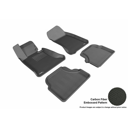 3D MAXpider Stylish Custom Fit All Weather Floor Mats for 2004-2010 BMW 5 Series (E60) Front & Second Row in Black with Carbon Fiber Look