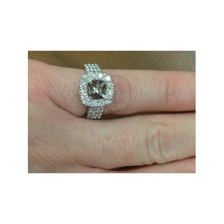 1ct Cushion Halo Engagement Ring Setting 14K White Gold Semi Mounting - image 3 of 4