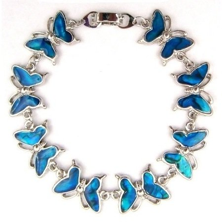 "7.25"" Big Blue Shell Butterfly Bracelet"