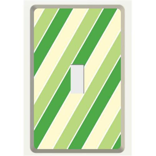 New Face Socket Covers NFSC100STSG Tan Single Light Switch with Green Stripe Skin