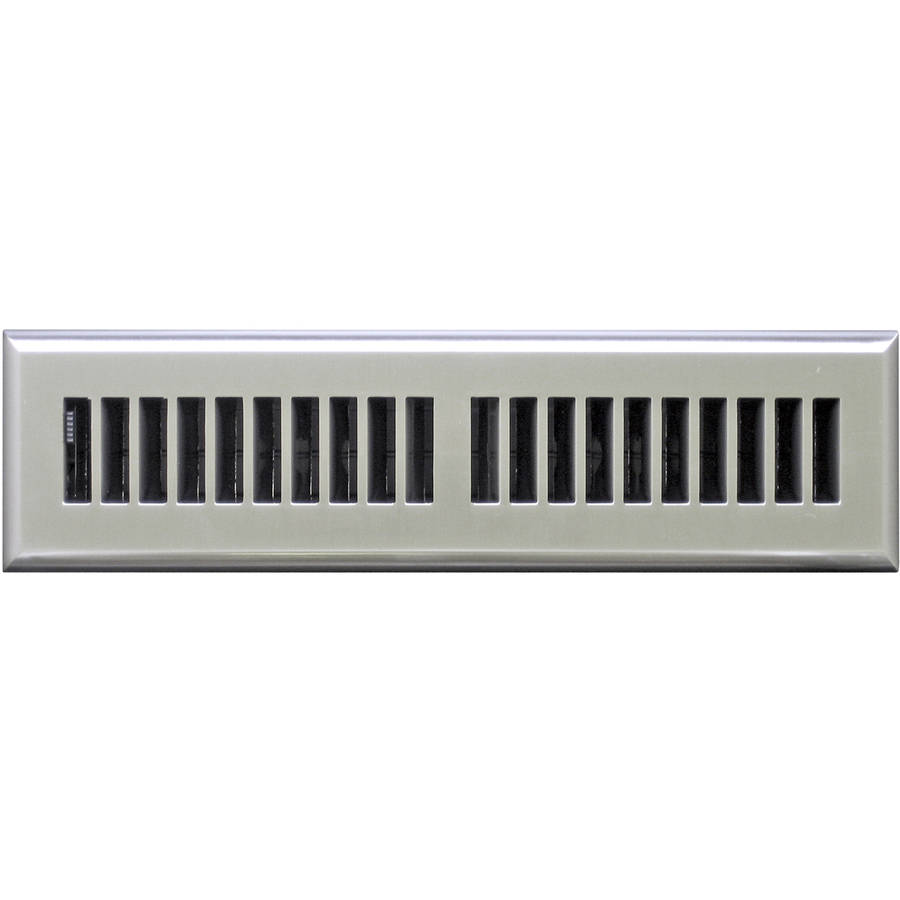 "Image of Plastic Floor Register, Satin Nickel Finish, Louvered Design, 2"" x 12"""