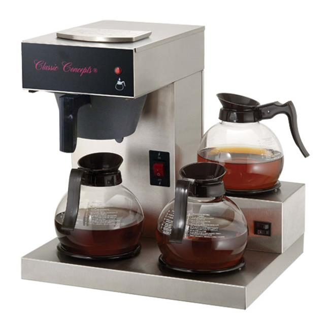 Classic Concepts GB360 Stainless Steel 3 Warmer Low Profile Pour-Over Commercial Brewer