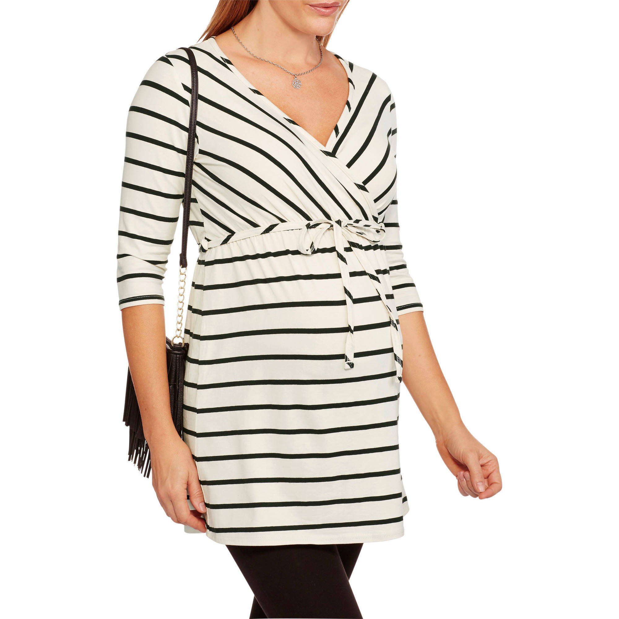 Oh! Mamma Maternity 3/4 Sleeve Surplice Top With Belt--Perfect For Nursing