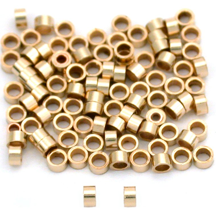 100 14K Gold Filled Crimp Tube Beads Micro Parts 2x1mm