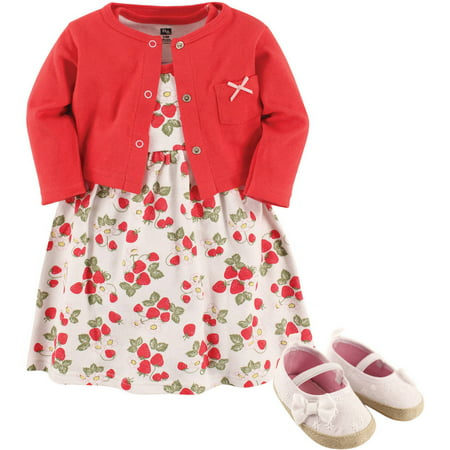 Girl Cardigan, Dress and Shoes