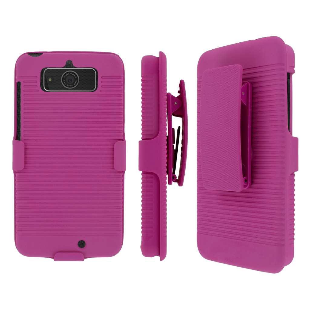Droid Mini Belt Clip Case, MPERO Collection 3 in 1 Tough Hot Pink Kickstand Case for Motorola DROID Mini