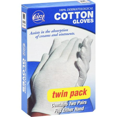 (2 pack) Cara Cotton Gloves, Medium, 2 Ct (Cremallera Cara Halloween)