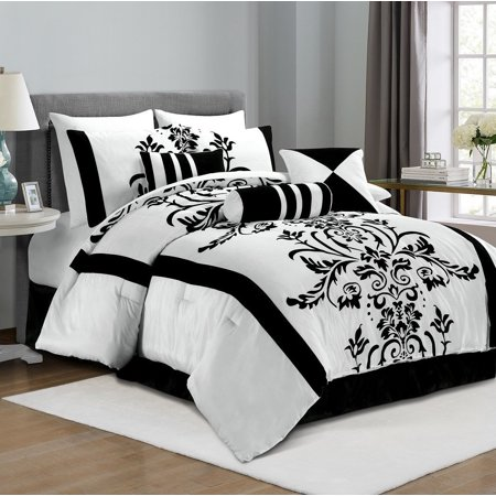 California King Toile Comforter - Chezmoi Collection Nobility 7-Piece Flocked Floral Comforter Set