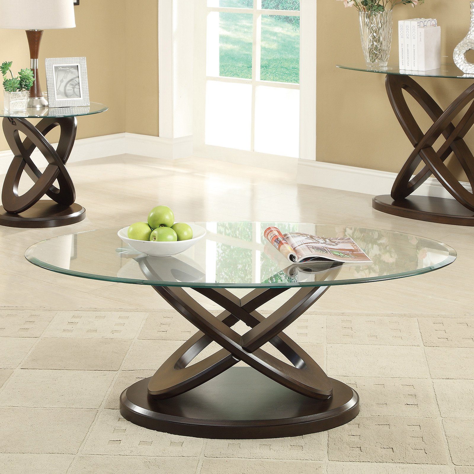Coaster Furniture Glass Top Oval Coffee Table