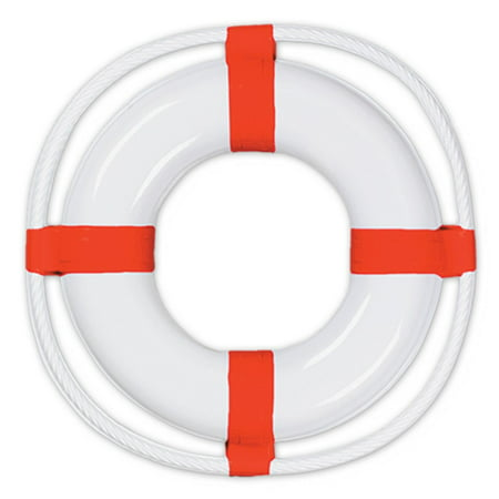 Club Pack of 24 White and Red Nautical Themed Plastic Lif...