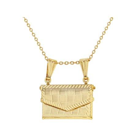 Gold Tone Purse Handbag Prayer Box Keepsake Necklace Pendant 19
